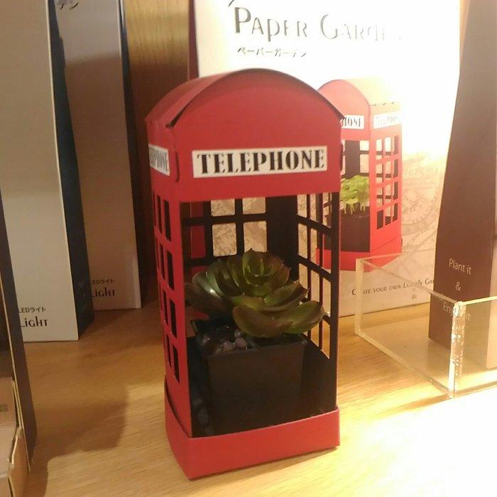 倫敦電話微景觀紙花園LED迷你植物燈娃娃屋DIY手作療癒