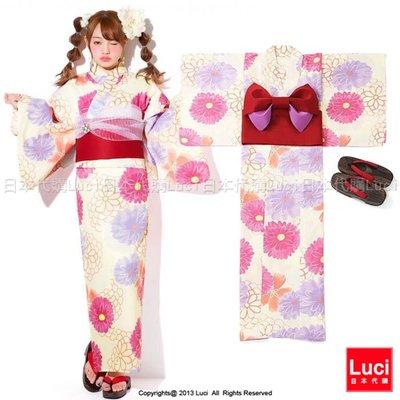 浴衣 典雅大花朵 花朵浴衣和服三件組 吉木千沙都 日雜款  LUCI日本代購 [giu914kx]