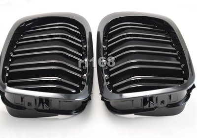 M4 GRILLES for E46 M3 LOOK 01-06 STYLE SHINY BALCK水箱罩黑烤漆 S54