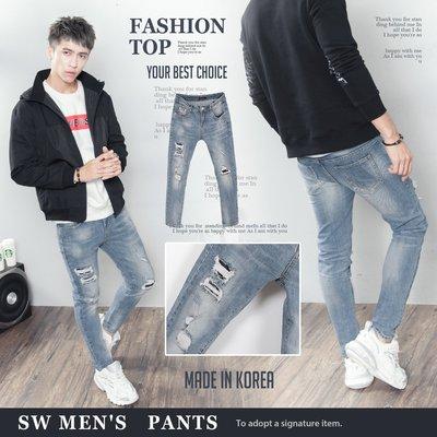 。SW。【K91677】正韓PE 韓國製 彈性單寧布 抽鬚內補丁破壞 藍刷白紋路 修身 牛仔單寧褲 英倫 GD