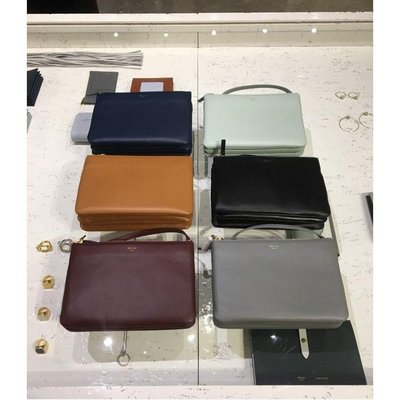 專櫃正品 Celine Trio Bag 黑色 小型 小羊皮  三層  斜背包 165113