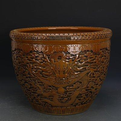 ㊣姥姥的寶藏㊣ 大清乾隆黃釉雕刻浮雕五龍圖瓷缸  官窯仿古瓷器 古玩古董收藏