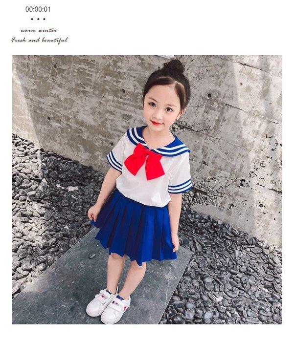 美少女戰士裙子女童套裝女童學院風裙子女童短袖套裝裙女童T恤+裙子