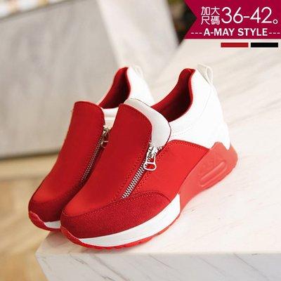 休閒鞋-內增高側拉鍊厚底休閒鞋(36-42加大碼)【XTE0740】