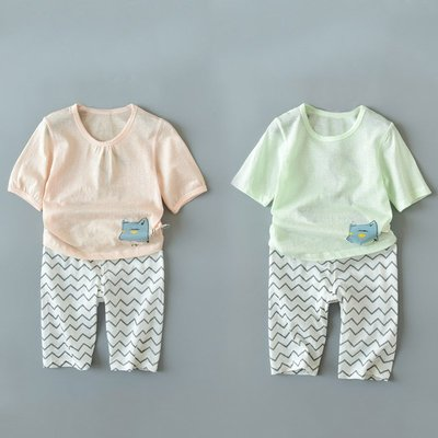 【叮叮親子商城】清爽透氣薄款純棉 兒童五分袖五分褲套裝 男童女童兩件套 夏裝
