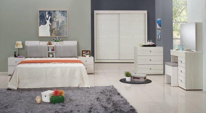 FA-551-A 克里斯5尺白色雙人床組(雙人床+床頭櫃x2+鏡台不含椅+3斗櫃)大台北區/超低價/高品質/1元起