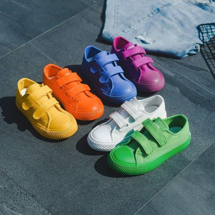 【潮流時尚】童女球鞋秋季糖果新款童鞋板鞋運動鞋色韓版學生兒童帆布鞋男韓版