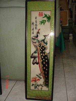 典藏古色古香的老玻璃內畫--芙蓉鏡裡舞雀屏