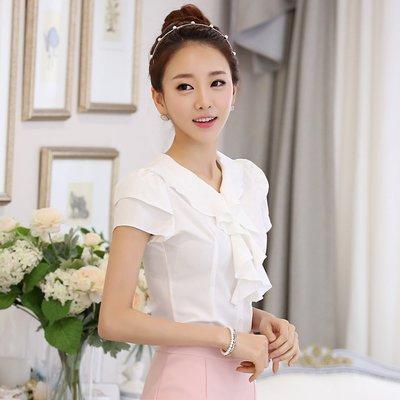艾莉小舖~2015韓國夏裝新款女裝 女式襯衫 短袖雪紡衫 雪紡襯衫韓版~滿2千免運