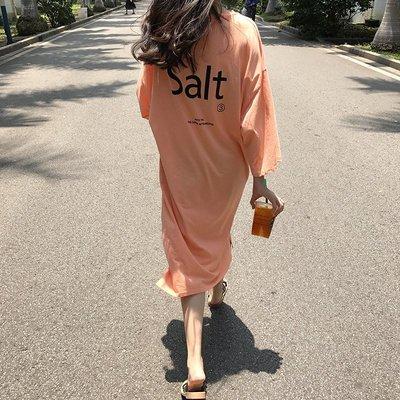 新款chic風韓國女裝字母印花側邊開叉中長款T恤寬松顯瘦連衣裙潮