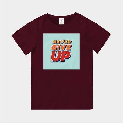 T365 MIT 親子裝 T恤 童裝 情侶裝 標語 話題 口號 美式風格 slogan NEVER GIVE UP