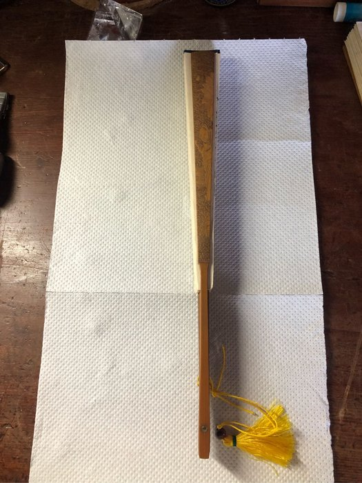 手工雕刻人物老竹扇骨,31cm 特價中