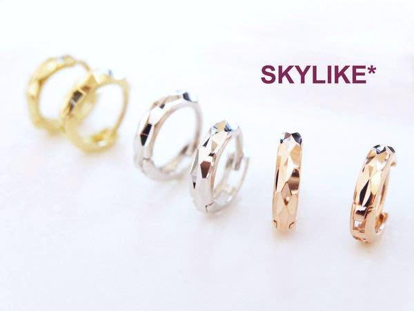 *SKYLIKE* 單支購~最可愛-韓國進口585/14K玫瑰K金亮面菱型鑽砂紋易扣耳骨耳環,TO-98324k