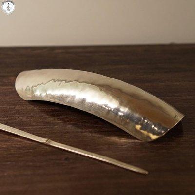 名家手作 收藏瓷器純銀制作茶則  純手工敲制而成  美觀 耐用 純銀茶則加茶針【不落齋】-B8747019