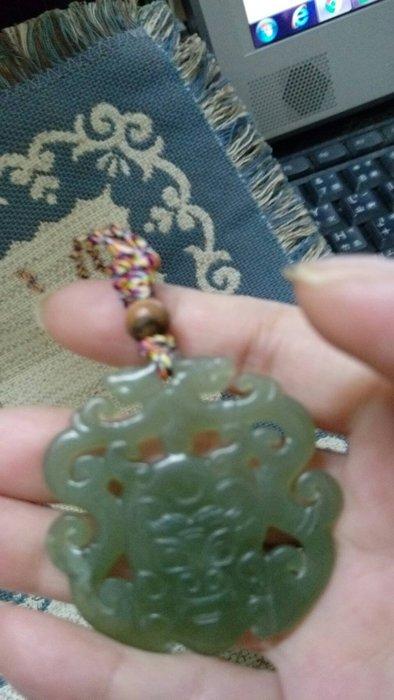 和闐玉手把件 掛件  玉珮 雙面雕