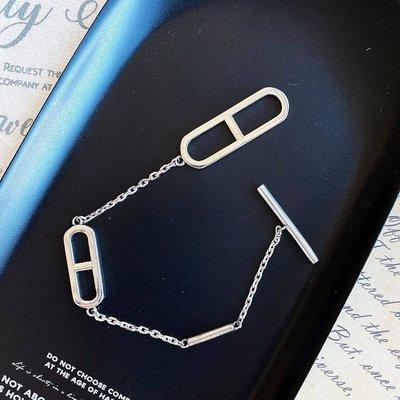 *o-ha-you*韓 KOREA氣質名媛網紅款個性簡約希臘字母符號T字扣全純銀手環手鍊