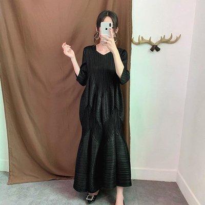 七分袖洋 裝 連身 長裙-V領花苞壓褶寬鬆女裙子4色73yf11[獨家進口][米蘭精品]