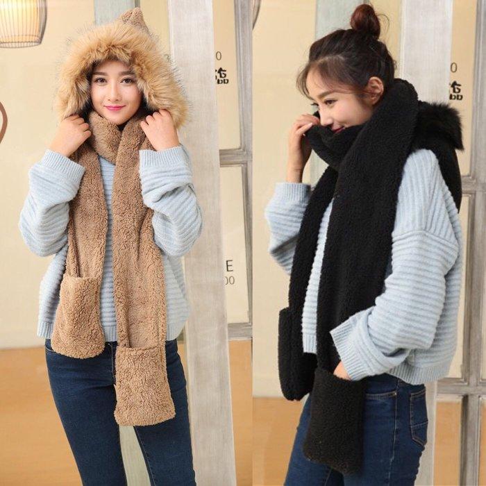現貨😍冬季長毛領學生女帽子圍巾手套三件套帽子圍巾一體雙層加厚保暖套裝女潮