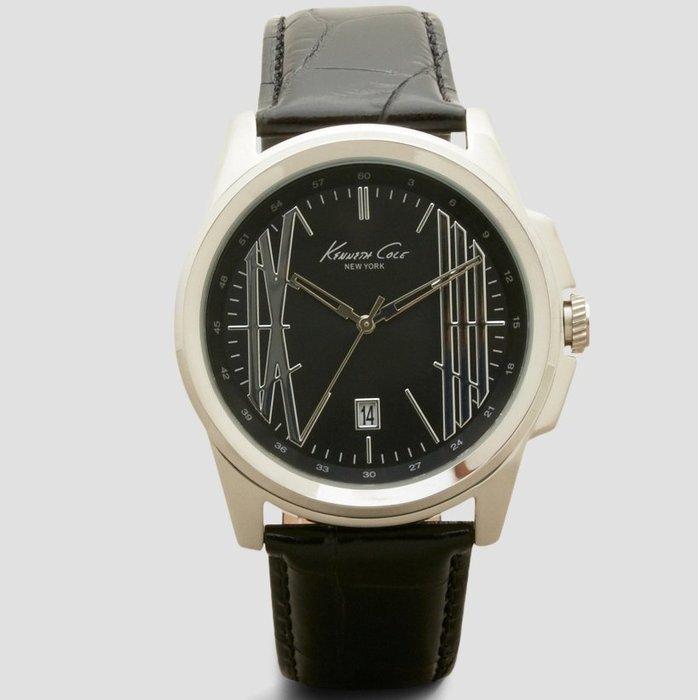 全新美國品牌 Kenneth Cole 黑色錶面皮革錶帶帥氣手錶,附原廠禮盒,低價起標無底價!本商品免運費!