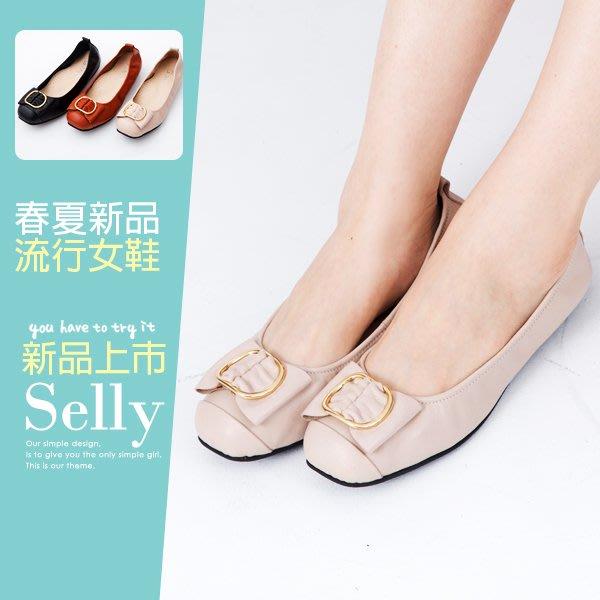 Selly outlet MIT系列-牛皮金屬穿釦蝴蝶結娃娃鞋(MIT118) 米灰色37號 NG265