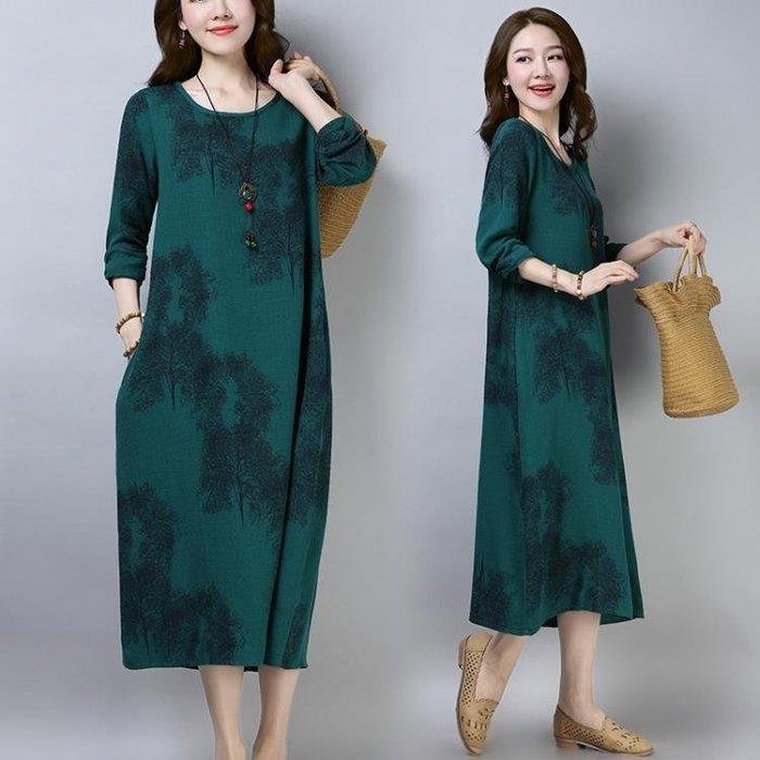 棉麻洋裝 棉麻連身裙長袖中長款寬松休閒媽媽遮肚子洋氣棉布裙子