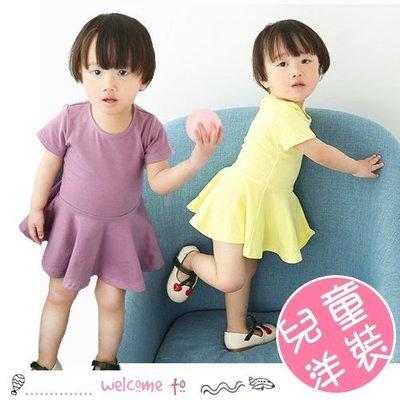 八號倉庫 春夏女童純棉素色荷葉邊短袖連衣裙【2A075P971】