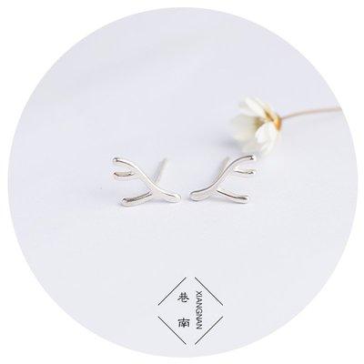 精緻life銀匠925純銀氣質耳釘日韓簡約小可愛麋鹿角耳飾飾品禮物