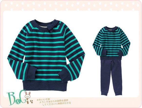 【B& G童裝】正品美國進口GYMBOREE  藍色條紋內軟刷毛厚棉長袖上衣M號6-8yrs