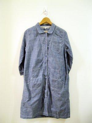 ☆觸咪Tzumi☆日系 After All藍色牛仔 白車線 長版洋裝/外套☆ 日幣5990 TH