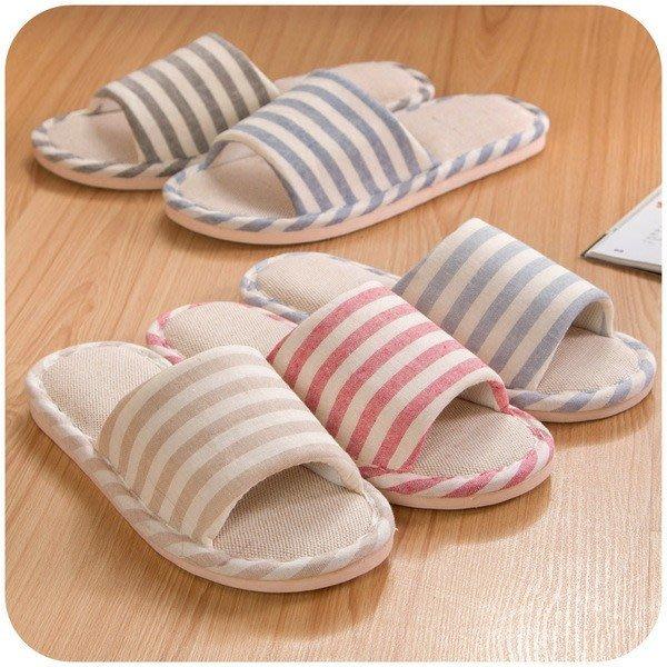 亞麻條紋托鞋女士韓版春夏季男士室內防滑地板情侶家居拖鞋