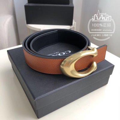 折扣款 全新正品 COACH 30921 女用皮帶 橘色皮革金釦 ladies belt