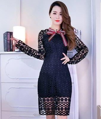 ♥PK漂亮♥ F17204【S號黑色現貨】時尚小清新蝴蝶領結水溶蕾絲長袖中長款連身裙洋裝