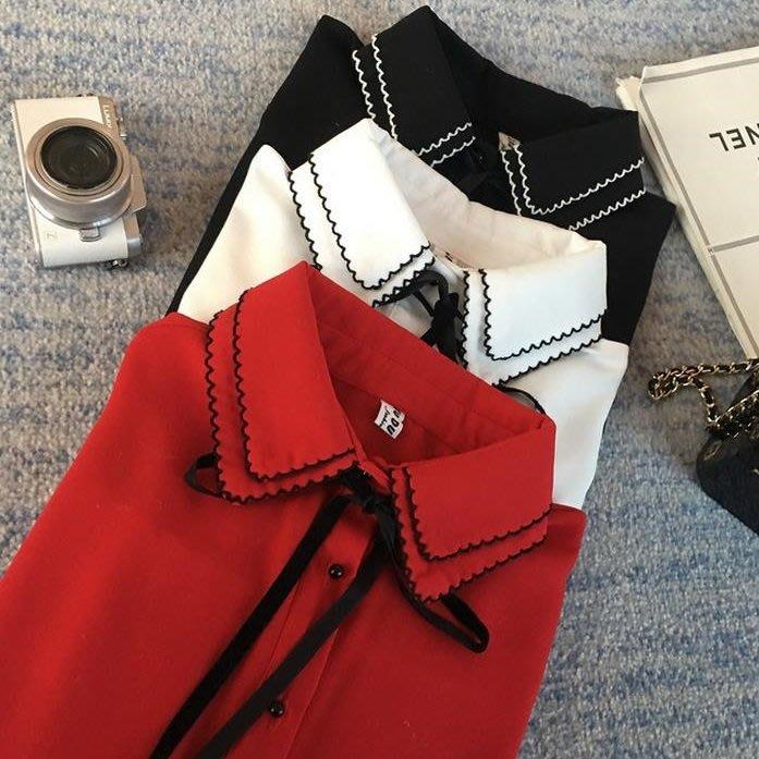 (GU-1129)紅色花邊領蝴蝶結綁帶長袖白襯衫裝雪紡黑白撞色