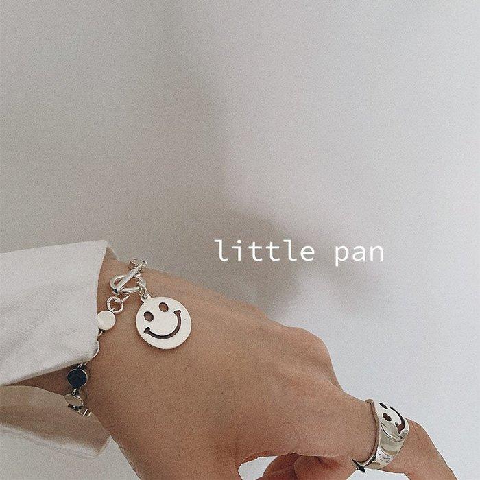 Lissom韓國代購~s925純銀光面小圓片日韓chic風極簡個性可愛笑臉前扣手鍊