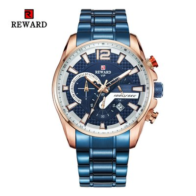 【潮裡潮氣】REWARD手錶男爆款時尚石英手錶三眼計時多功能鋼帶休閒RD63080M