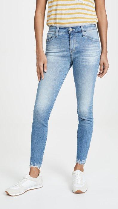 ◎美國代買◎AG The Farrah 抽鬚褲口刷白大腿設計復古頹廢時尚高腰藍刷色抽鬚合身九分牛仔褲