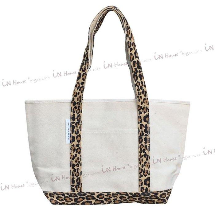In House*🇹🇼現貨Canvas bag 大容量 豹紋 帆布 手提包 帆布袋 單肩包 雜誌附錄 托特包 購物袋