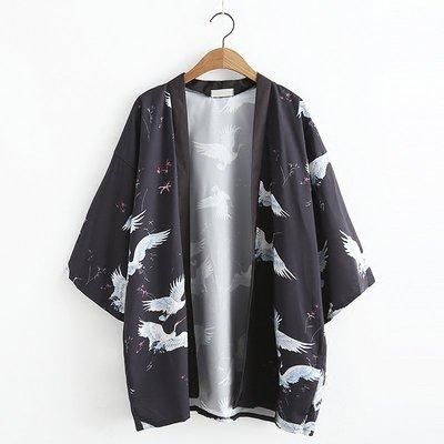 《日式和服外套》日系仙鶴緹花和風雪紡開衫防曬衣寬鬆薄空調披衫【拾光物語】C3-2693