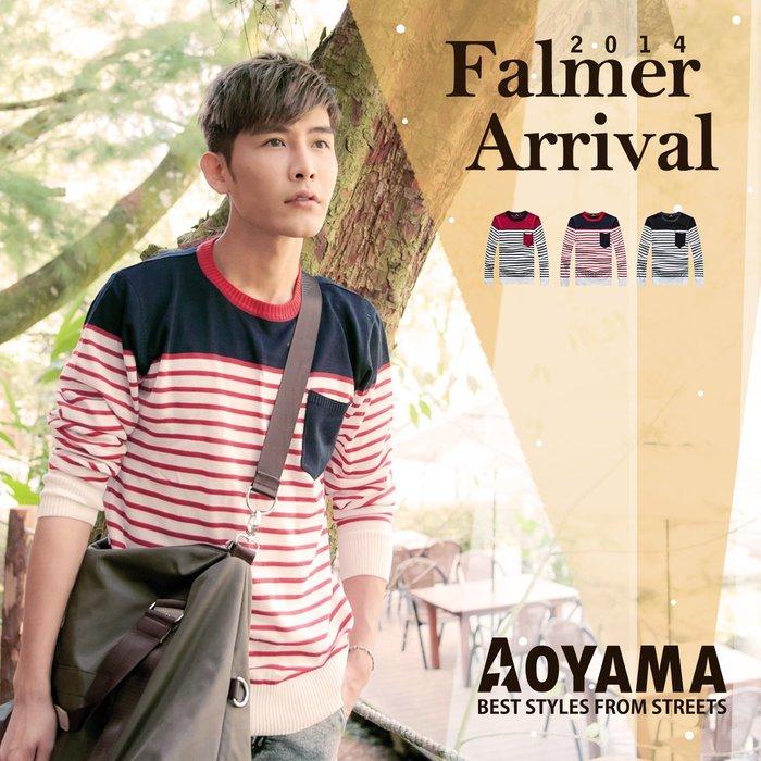 針織毛衣 韓系雙色條紋口袋針織毛衣【X50061】青山AOYAMA