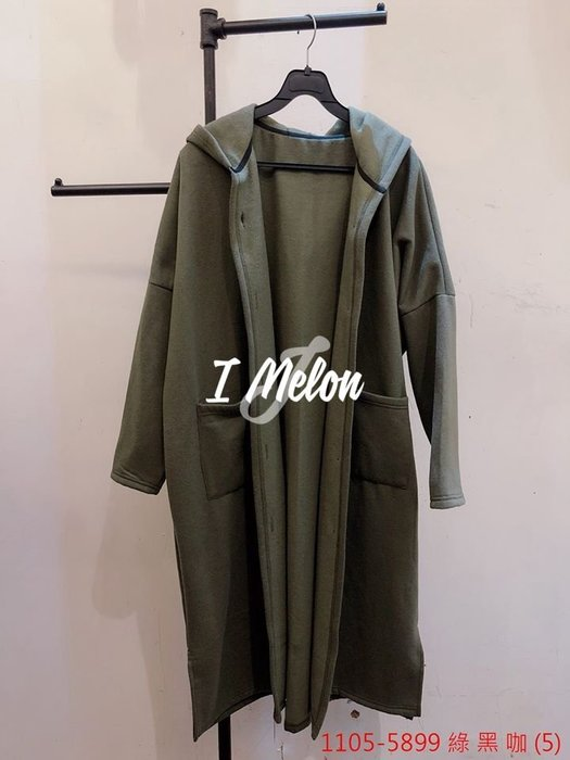 ::: i-MelOn :::100%韓國空運 正韓【現貨】排釦內刷毛連帽外套※黑