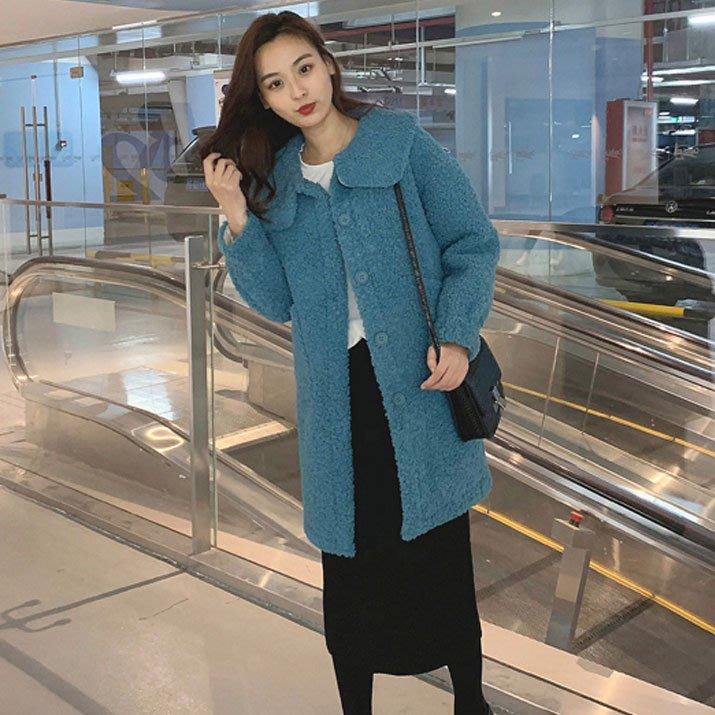 ❤JM SHOP 韓風❤時尚chic翻領羊羔毛大衣中長款純色呢外套