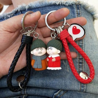 情侶鑰匙扣鑰匙圈一對韓國可愛創意男女簡...