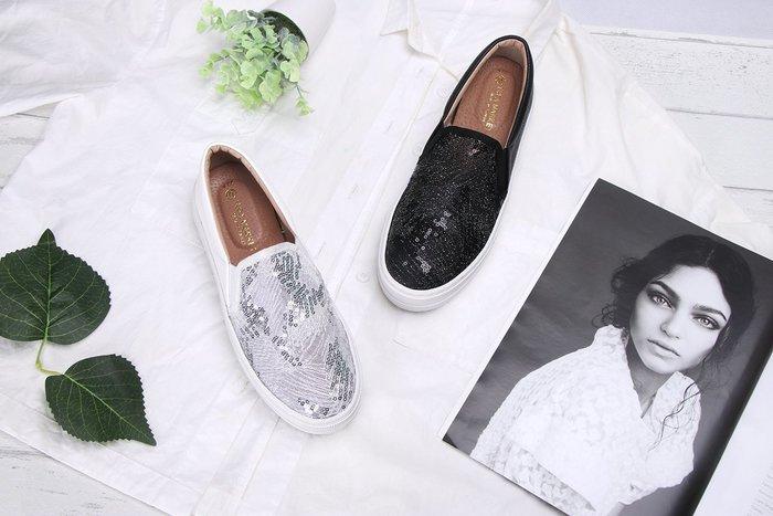 富發牌。女鞋。1BD39  星沙網紋亮片厚底懶人鞋 (黑/白) (23-25.5號)~nanakids娜娜童櫥