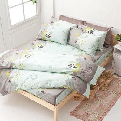 床包兩用被組 / 雙人加大【香草綠】含兩件枕套  舖棉兩用被套  100%純綿  戀家小舖AAC315