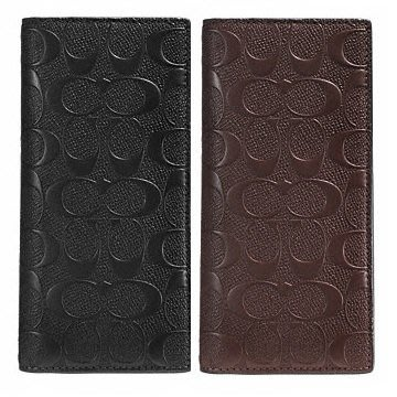 COACH 75365 BREAST POCKET WALLET IN SIGNATURE  LEATHER拉鏈長夾
