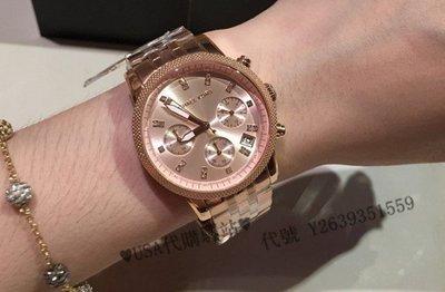 ♥USA代購驛站♥ 100%美國全新正品 MK鑲鉆時裝腕錶 MK6077 玫瑰金 精鋼錶帶 三眼計時 日曆 女士手錶