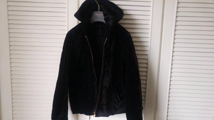 原價$29580 RALPH LAUREN 深黑厚實高品質舒暖滑順絲絨舖綿連帽外套