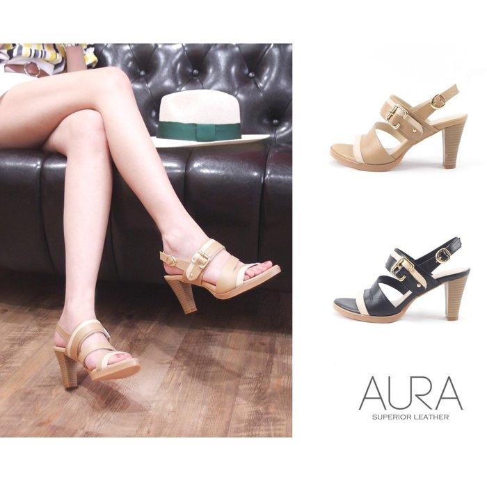 AURA[前進時裝週。小牛皮高跟涼鞋]-鋼琴黑/小麥(21.5~26)大小尺碼