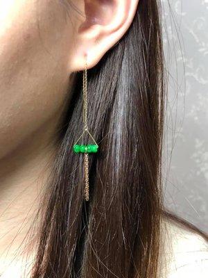 【凡點藏寶軒‧翡翠二館】綠珠18k金鑲嵌-長鍊流蘇耳環◎保證A貨‧天然翡翠