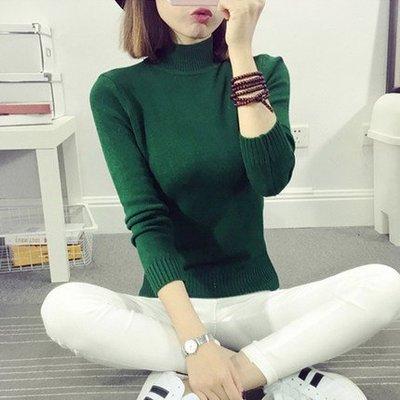 秋冬白色短款宽松半高领毛衣打底衫女外套长袖套头加厚紧身针织衫